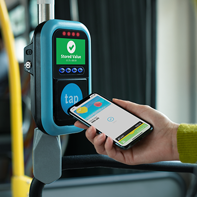 Phone tapped at bus mobile validator